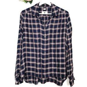 LOFT The Softened Shirt Plaid Pop Over Size Medium